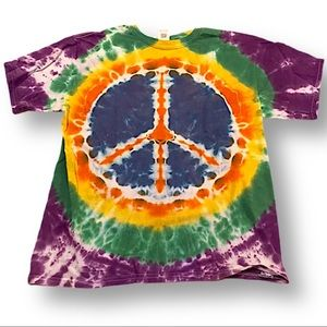Tie dye tshirt youth XL peace sign